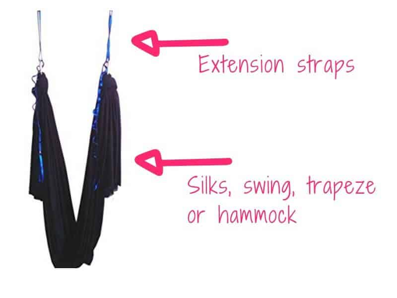 Extension straps and an aerial yoga swing/silks